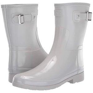 NIB Hunter grey Refined short gloss rain boot